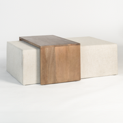 Wood and Fabric Ottoman - Mix Home Mercantile