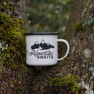 12 oz Camping Mug: Adventure Awaits