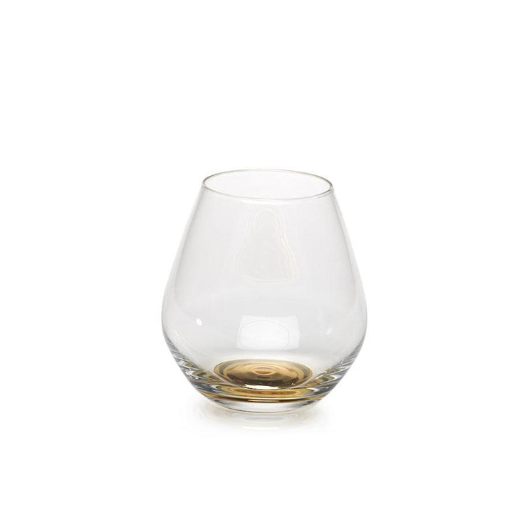 Stemless Wine Glass with Golden Base - Mix Home Mercantile