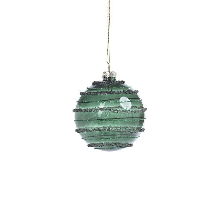 Green Striped Beaded Ornament - Medium - Mix Home Mercantile