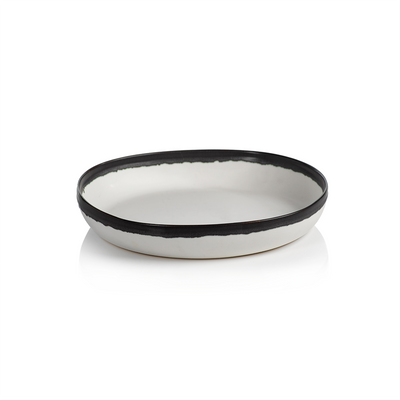 Extra Large Shallow White Bowl w/Black Rim - Mix Home Mercantile