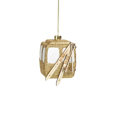Golden Gondola with Skis Ornament - Mix Home Mercantile