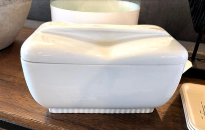 Vintage White Ceramic Dish w/lid - Mix Home Mercantile