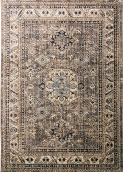 "7'10"" Round Gray & Blue Rug - Mix Home Mercantile"