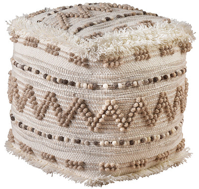 "White Wash 16"" Pouf - Mix Home Mercantile"