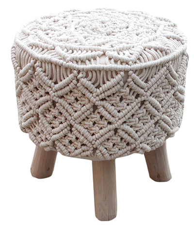 Hand Knotted Macramé Top Stool - Mix Home Mercantile