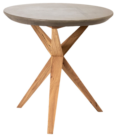 "24"" Round Concrete and Wood Accent Table - Mix Home Mercantile"