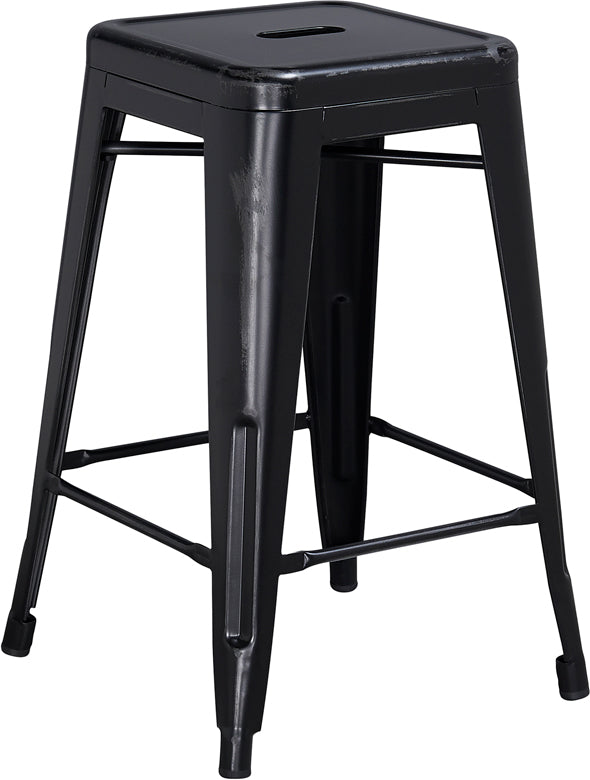 "30"" Distressed Black Metal Stool - Mix Home Mercantile"