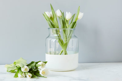 Small White Colorblock Mason Jar - Mix Home Mercantile