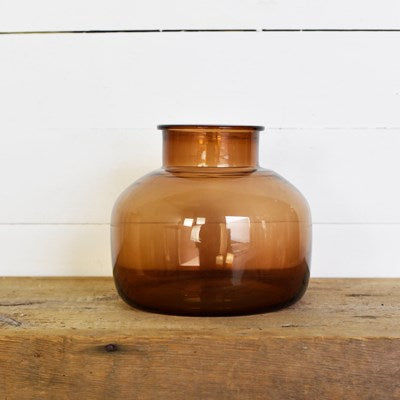 "10"" Round Amber Bottle - Mix Home Mercantile"