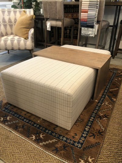 Custom Ottoman with Custom Solid Wood Tray Cover - Mix Home Mercantile