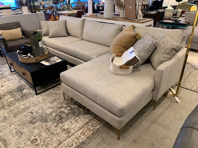 3 Cushion Sectional with RAF Chaise and Brass Legs - Mix Home Mercantile
