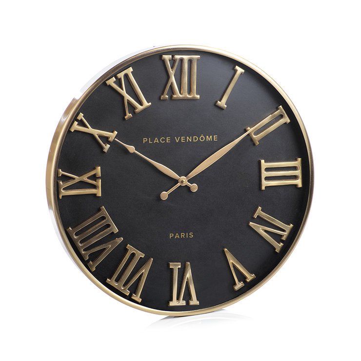 "20"" Brass and Black Wall Clock - Mix Home Mercantile"