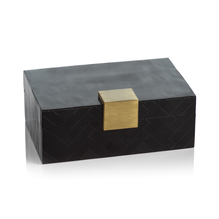 Chevron Inlaid Box with Brass Trim - Mix Home Mercantile