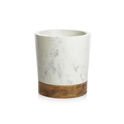 Wood and White Marble Ice Bucket/Wine Cooler - Mix Home Mercantile