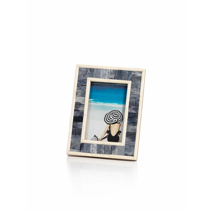 5 x 7 Blue Carved Bone Photo Frame - Mix Home Mercantile