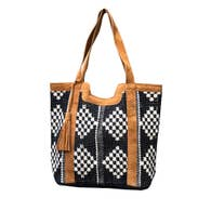 Leather and Fabric Tote - Mix Home Mercantile