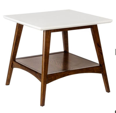 Two Tone White and Pecan End Table - Mix Home Mercantile