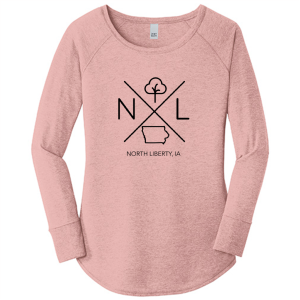 North Liberty Ladies Long Sleeve T-Shirt: Rose - Mix Home Mercantile