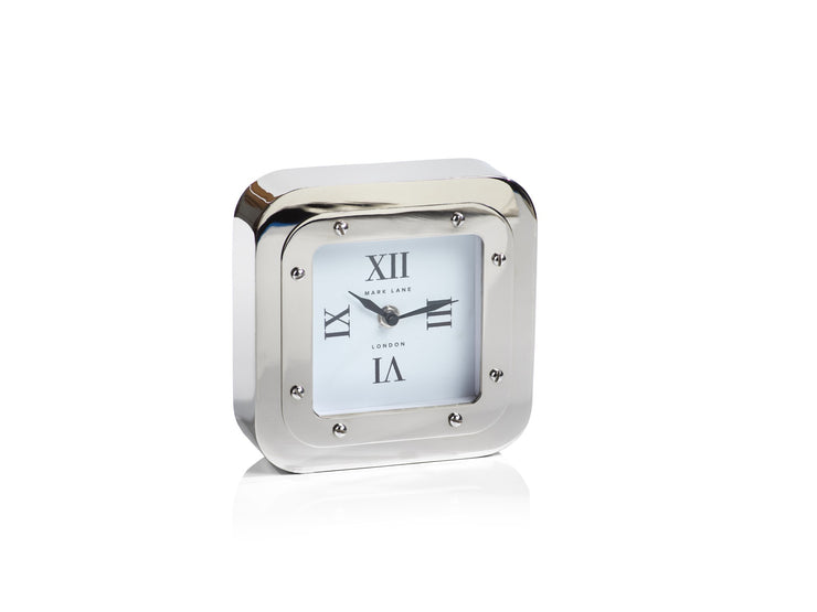 Modern Square Nickel Table Clock - Mix Home Mercantile