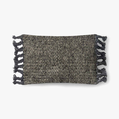 Grey Wool Lumbar Pillow with Tassels - Mix Home Mercantile