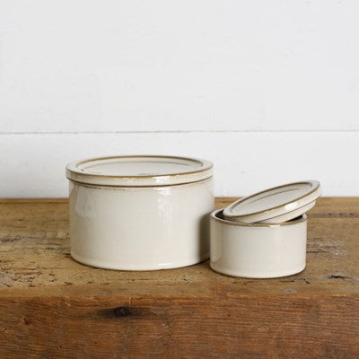 Set of 2 Round Ceramic Canisters - Mix Home Mercantile