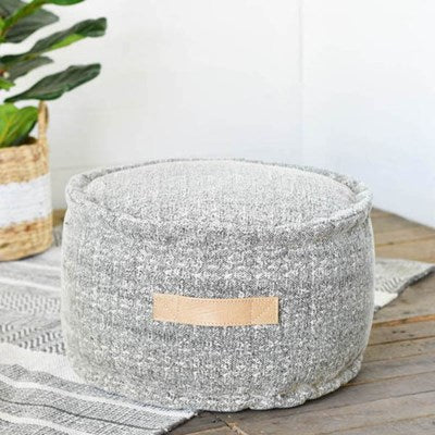 "19"" Round Grey and White Pouf - Mix Home Mercantile"