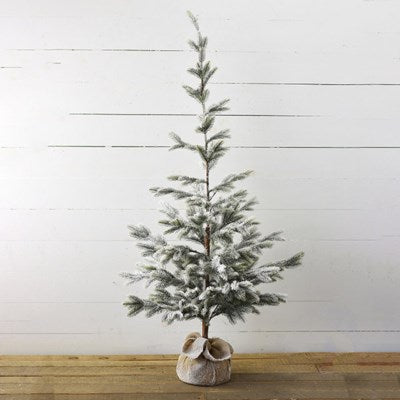 "59"" Flocked Tree with Burlap - Mix Home Mercantile"