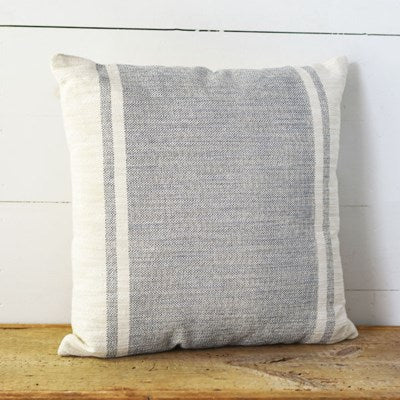 "20"" Striped Denim and Ivory Pillow - Mix Home Mercantile"