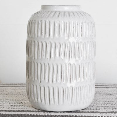 "9"" White Ceramic Vase - Mix Home Mercantile"