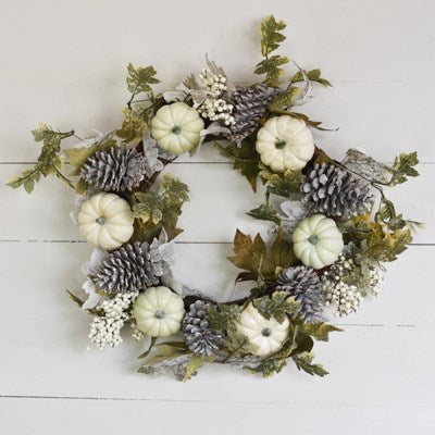 "24"" Pumpkin and Pine Cone Wreath - Mix Home Mercantile"