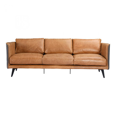 Top Grain Cognac Leather Sofa - Mix Home Mercantile