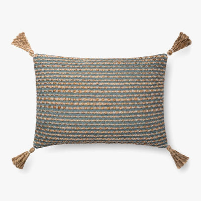 16 x 26 Blue and Natural Down Filled Pillow - Mix Home Mercantile