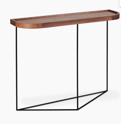 Minimalist Walnut & Metal Console Table - Mix Home Mercantile