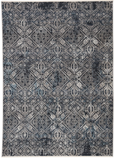 "Gray Ivory Blue Rug 8'10"" x 11'10"" - Mix Home Mercantile"