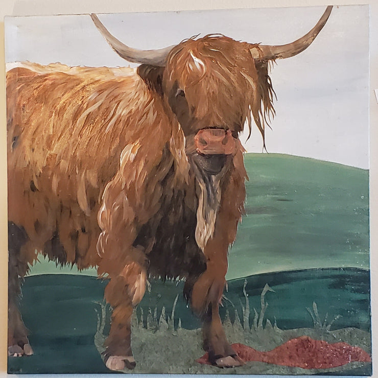 Scottish Cow I Original Acrylic on Canvas - Mix Home Mercantile