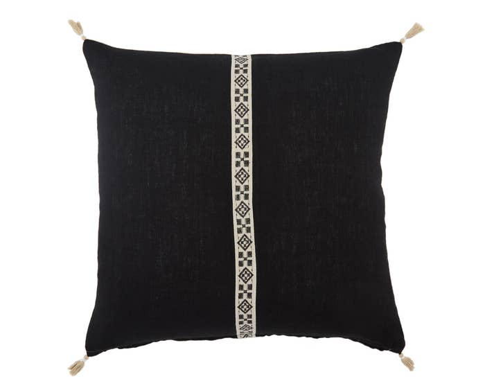 "22"" Black and White Tribal Pillow - Mix Home Mercantile"