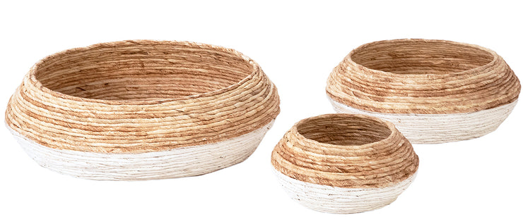 Set of 3 Two-Tone Woven Baskets - Mix Home Mercantile