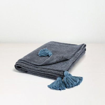 50 x 70 Blue Cotton Throw - Mix Home Mercantile