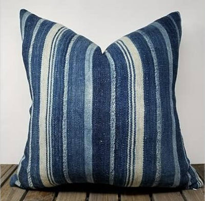 22 x 22 Vintage Vertical Striped Indigo African Mud Cloth PIllow - Mix Home Mercantile
