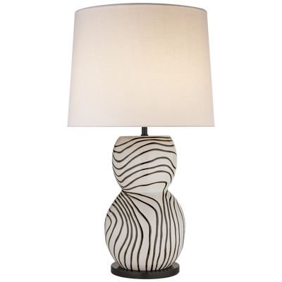 Black and White Stripe Hand Painted Table Lamp - Mix Home Mercantile