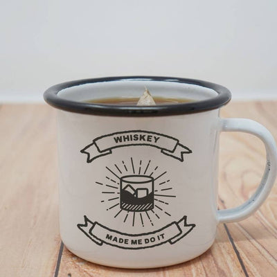 12 oz Camping Mug: Whiskey Made Me Do It