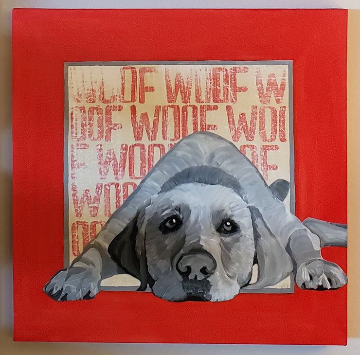 Woof Woof Original Acrylic on Canvas - Mix Home Mercantile