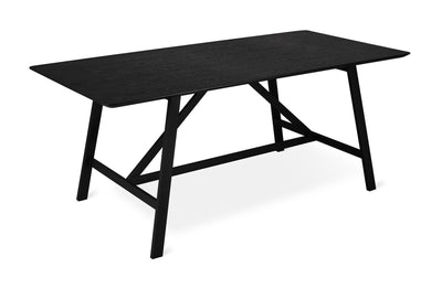 "71"" Black Wood and Iron Dining Table"