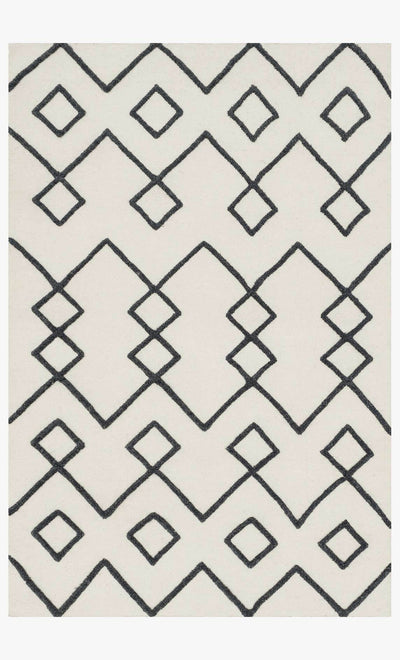 "5' x 7'6"" Black and White Wool Flat Weave Rug - Mix Home Mercantile"