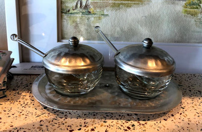 Vintage Salt and Pepper Bowls w/spoons - Mix Home Mercantile