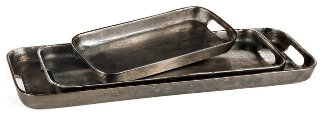 Set of 3 Rustic Silver Trays - Mix Home Mercantile