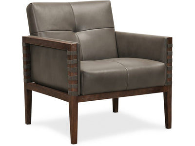Top Grain Leather Club Chair with Wood Frame