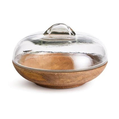 Natural Wood Bowl with Glass Lid - Mix Home Mercantile