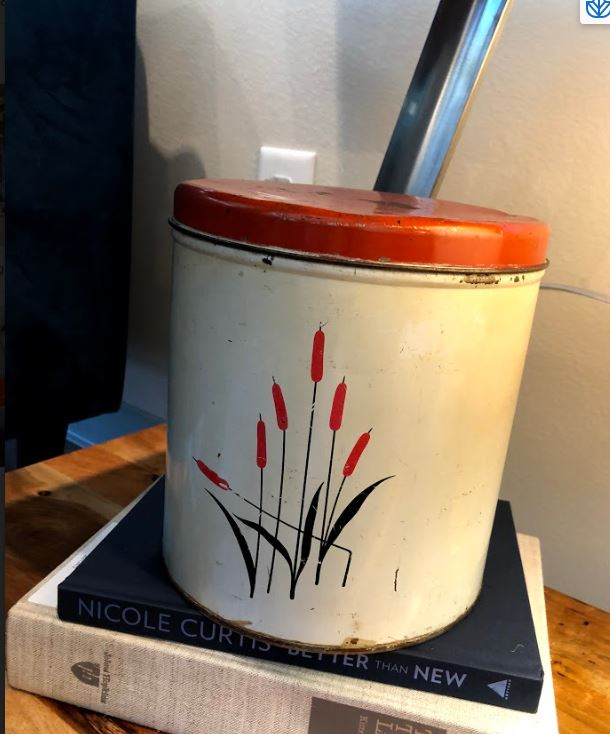 Vintage Metal Canister w/ Cattails - Mix Home Mercantile